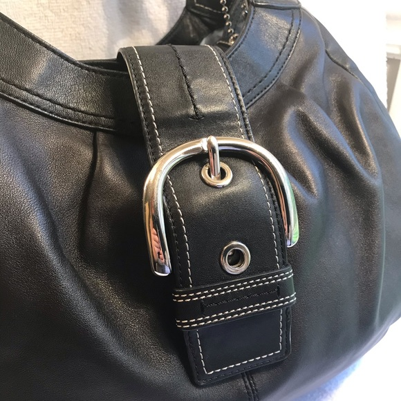 Coach Handbags - COACH Purse Bag Buckle Large Leather Black